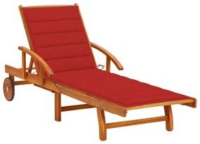 3061608 vidaXL Șezlong de grădină cu pernă, lemn masiv de acacia
