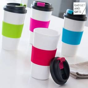 Pahar cu Capac si Perete Dublu Colors Gadget and Gifts