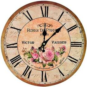 Ceas perete lemn Roses de Paris ø34