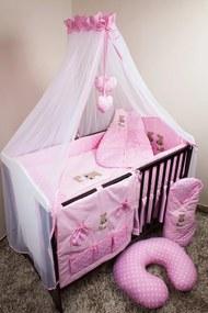 set lenjerie la cribs 120x90cm iepure roz baldachin