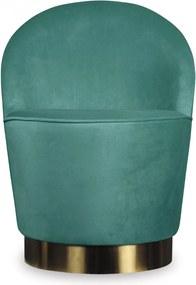 Fotoliu Verde SERGE din Catifea cu Baza din Alama OPJET PARIS - Catifea Verde Lungime (56cm) x Latime (54cm) x Inaltime (75cm)