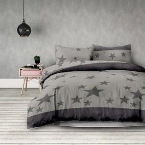 Lenjerie de pat din microfibră DecoKing Stardust, 140 x 200 cm, gri