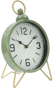 Ceas de masă Brigid, 32.5x20x5.5 cm, metal/ sticla, verde/ auriu
