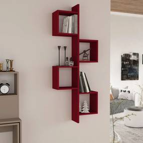 Etajera rosie de perete, 57x20x153 cm