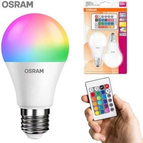 2 buc becuri LED OSRAM, RGBW multicolor cu 2 telecomenzi si soclu E27