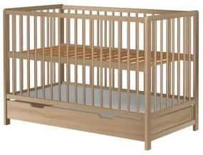 Hubners - Patut copii din lemn Dominic 120x60 cm Natur cu sertar