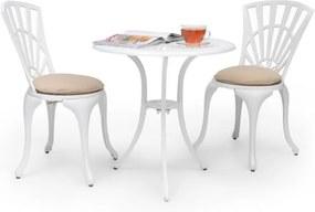 Blumfeldt Valletta 3 buc. BistroSet masă și 2 scaune pentru relaxare, dinaluminiu turnat sub presiune alb