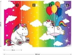 Fototapet GLIX - Unicorns Rainbow + adeziv GRATUIT Papírová tapeta  - 368x254 cm