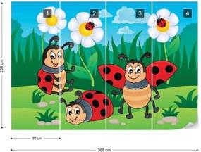 Fototapet GLIX - Cartoon Ladybirds + adeziv GRATUIT Tapet nețesute - 254x184 cm