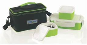 Set Lunch Box Pyramid Thermo, 4 piese, Verde