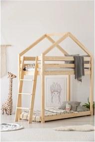 Cadru pat supraetajat din lemn de pin, în formă de căsuță Adeko Mila DMPB, 80 x 190 cm