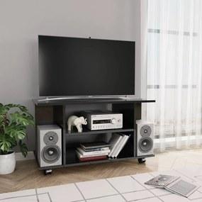 800196 vidaXL Comodă TV cu rotile, negru foarte lucios, 80 x 40 x 40 cm, PAL