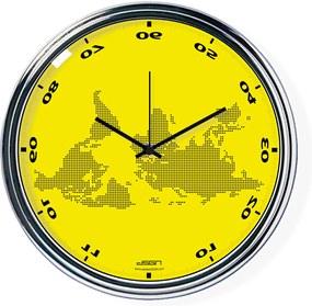 Ceas de perete inversat galben cu hartă mondială.