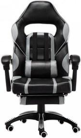 Scaun gaming, suport picioare, funcție sezlong, SIG 8069, Negru/Gri
