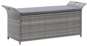 45809 vidaXL Bancă de depozitare cu pernă, gri, 138 cm, poliratan