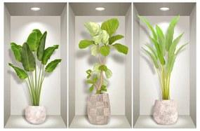 Set 3 autocolante 3D pentru perete Ambiance Banana Trees