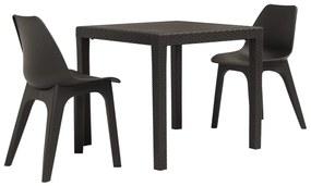 276121 vidaXL Set mobilier de bistro, 3 piese, maro, plastic