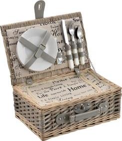 [casa.pro]® Cos picnic 2 persoane, 38 x 25 x 16 cm, rachita/poliuretan-imitatie piele/textil, gri