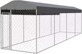 Adăpost exterior cu acoperiș pentru câini, 800 x 200 cm
