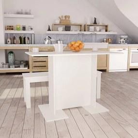 800243 vidaXL Masă de bucătărie, alb, 110 x 60 x 75 cm, PAL