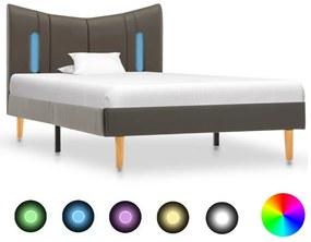 288543 vidaXL Cadru de pat cu LED, antracit, 90 x 200 cm, piele ecologică