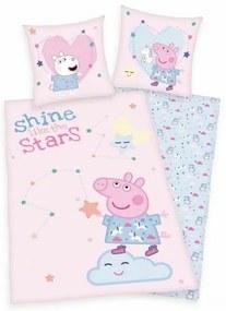 Lenjerie de pat Peppa Pig roz pentru copii din bumbac reversibila 2 piese