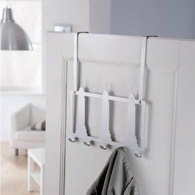 Cuier pentru ușă Compactor New York, 5 cârlige, alb