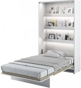 Pat rabatabil pe perete, cu mecanism pneumatic, sistem LED si somiera inclusa, Bed Concept Vertical Alb Mat, 200 x 120 cm