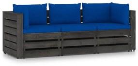 3068178 vidaXL Canapea de grădină cu 3 locuri, cu perne, gri, lemn tratat