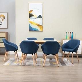 278421 vidaXL Scaune de sufragerie, 6 buc., albastru, textil