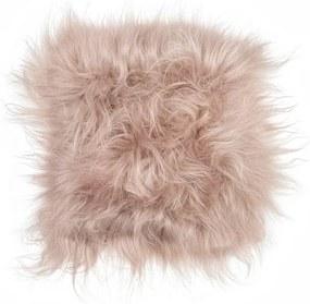 Pernă pentru scaun, din blană de miel cu fir lung Arctic Fur Saddo, 37 x 37 cm, maro