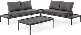 Set canapele din fier gri cu perne textil si masuta cafea Rodrigo 184 cm x 80 cm x 90 h x 43 h1 x 72 h3