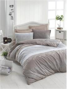 Lenjerie de pat din bumbac ranforce pentru pat de 1 persoană Mijolnir Silvia Brown, 140 x 200 cm
