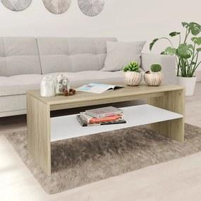 800131 vidaXL Măsuță de cafea, alb și stejar Sonoma, 100x40x40 cm, PAL