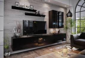 Expedo Mobilă sufragerie ELPASO 1 + LED, negru/negru luciu