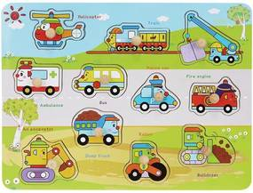 Puzzle educativ din lemn, Masinute,12 piese, multicolor