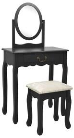 289332 vidaXL Masă toaletă cu taburet negru 65x36x128 cm lemn paulownia MDF