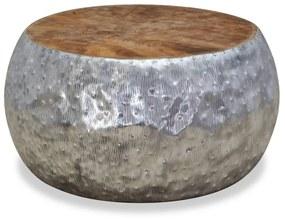 244549 vidaXL Măsuță de cafea din aluminiu și tec, 60 x 60 x 30 cm
