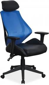 Scaun de birou ergonomic tapitat cu piele ecologica si stofa Q-406 Blue / Black, l67xA52xH102-110 cm