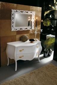ELN506 - Set Mobilier Baie Narciso - Comoda, Oglinda, Alb-Auriu