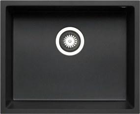Chiuveta incorporabila sub blat Pyramis TETRAGON 1B, 50 cm, negru, granit