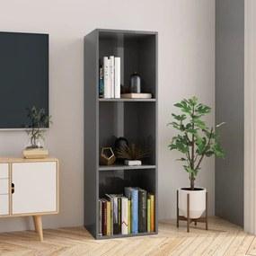 800143 vidaXL Bibliotecă/Comodă TV, gri lucios, 36 x 30 x 114 cm, PAL