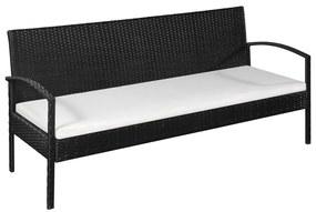 44181 vidaXL Canapea de grădină cu 3 locuri, cu perne, negru, poliratan