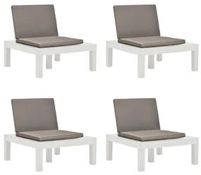 3054425 vidaXL Șezlonguri de grădină cu perne, 4 buc., alb, plastic