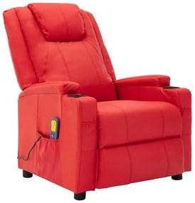 321316 vidaXL Fotoliu de masaj rabatabil, roșu, piele ecologică