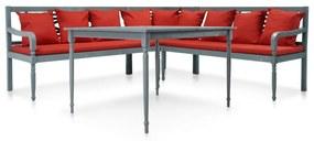 43699 vidaXL Set mobilier de grădină, 4 piese, gri/roșu, lemn masiv acacia