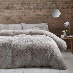Lenjerie de pat din micropluș Catherine Lansfield Cuddly, 200 x 200 cm, gri