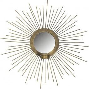 Oglinda rotunda cu rama din fier antique brass Sunny, 45x45x7 cm