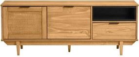 Comodă TV din lemn de pin și cu sertare din ratan Marckeric Dakar, lățime 140,4 cm, maro