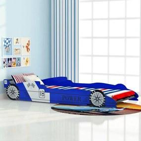 244465 vidaXL Pat pentru copii mașină de curse 90 x 200 cm, albastru